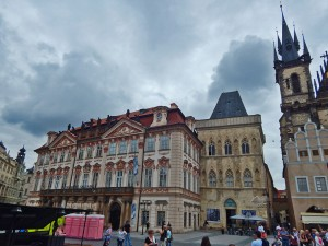 On the left, the entrance to the Kinsky Palace in Prague