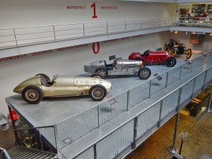 Old race cars at National Museum of Technology in Prague