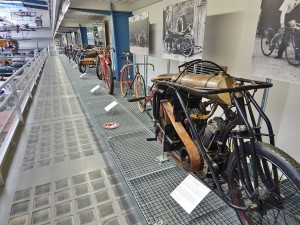 Old motorcycles at National Museum of Technology in Prague
