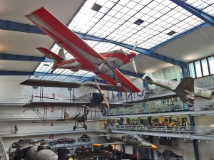 Old airplanes at National Museum of Technology in Prague
