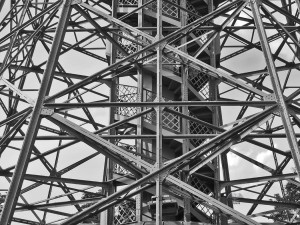 Intricate steel stricter of the Petrin Tower