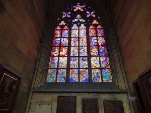Beautiful stained glass windows at Saint Vitus Cathedral