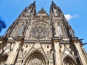 Façade of the Saint Vitus Cathedral in Prague