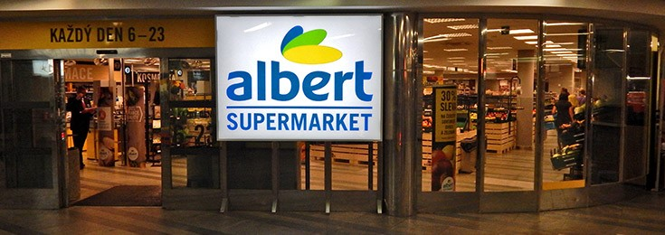 Albert Supermarket in the center of Prague