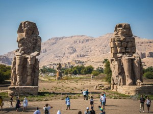 The colossal statues of Pharaoh Amenhotep III also called the The Colossi of Memnon, Luxor