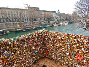 Traditional love-locks in Paris