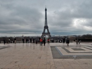 View on Eiffel Tower from Palais de Chaillot balcony