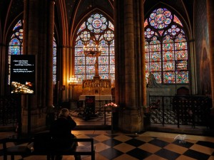 Inside of the Notre Dame Cathedral in Paris