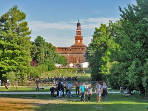 Sempione Park and Sforza Castle in Milan