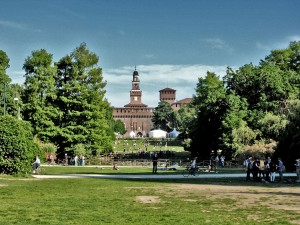 Sempione Parka and the Sforza Castle in Milan