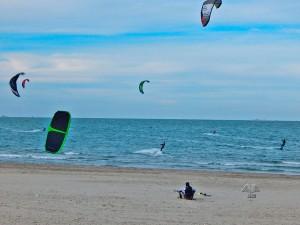 Kitesurfing on Lido di Dante Beach