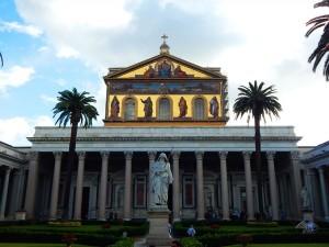 Beautiful gardens of Basilica of Saint Paul in Rome