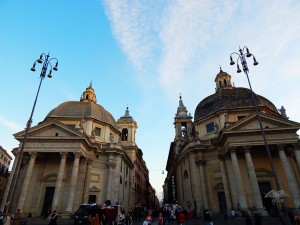 Twin churches on Piazza del Popolo in Rome