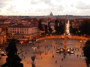 View from terraces of Piazza del Popolo in Rome