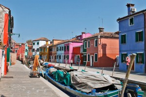 Characteristic colorful houses of the Burano Island
