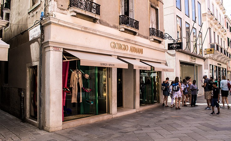 Luxury shopping zone in Venice