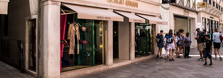 Luxury shopping zone in Venice