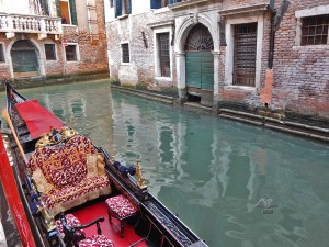 Richly decorated Venetian gondola