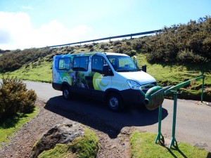 Van that takes visitors to the mountain hut on Rabacal trail